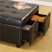 petula bi cast leather storage ottoman w 4 drawers in espresso by