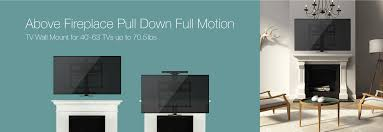 above fireplace pull down full motion tv wall mount monoprice com
