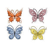vector set of black and white ornamental butterflies isolated o