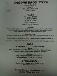 Pizza Delivery Resume Barone Brothers Pizza Menu Menu For Barone Brothers Pizza