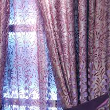 Faux Silk Embroidered Curtains Style Embroidery Floral Leaf Purple Faux Silk Curtains