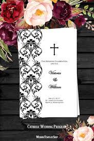 Catholic Wedding Programs Catholic Church Wedding Program Damask Black White Wedding