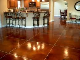 Tiling On Concrete Floor Basement by Stained Concrete Great For A Basement Or Smooth Garage Floor