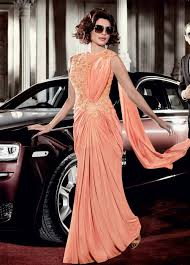 buy priyanka chopra peach color lycra saree style gown in usa uk