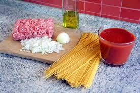 cuisine preparation spaghetti bolognese preparation stock image image of dish