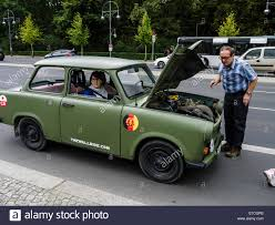 trabant berlin trabant car broken down germany 17th june strasse stock
