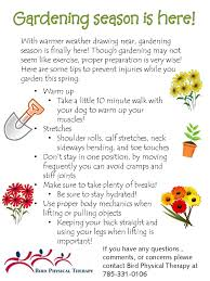 gardening season is here bird physical therapy