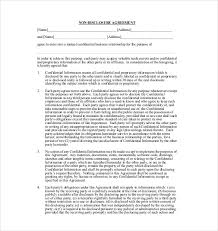 Non Disclosure Statement Template by 10 Non Disclosure Agreement Templates Free Sle Exle