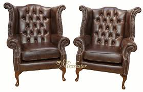 chesterfield offer pair queen anne high back wing chair oil pull