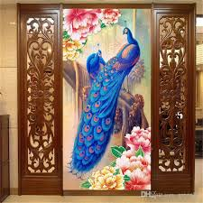 silk peacock home decor peacock and peony flower photo wallpaper oil painting effect wall