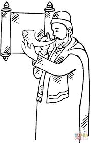 Coloriage  Homme avec un chophar devant un parchemin  Coloriages à