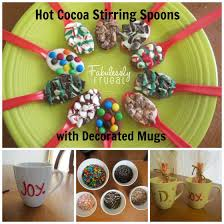 gift mugs with candy hot cocoa stirring spoons mugs
