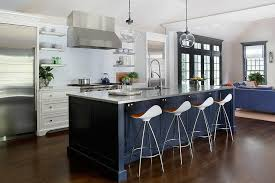 blue kitchen island and white cabinets navy blue kitchen island with onda barstools contemporary