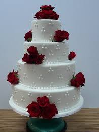 wedding cakes pictures four tier round red roses wedding cake