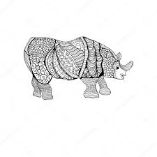 rhinoceros hand drawn rhino with ethnic floral doodle pattern