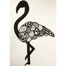 heyy its jess u2014 black and white flamingo drawing birdy art