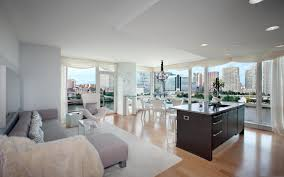 open interior design with small kitchen inside family room also