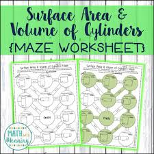 surface area and volume of cylinders maze worksheet ccss 7 g b 6