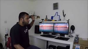 Dual Monitor Gaming Desk Dual Monitor Desk Tour Setup In Time Lapse Youtube