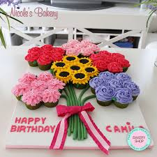 pull apart cupcake cake flowers arrangement