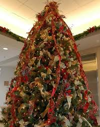 Decorating Christmas Trees With Ribbon Vertically
