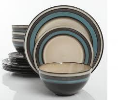 gibson everston teal 12 dinnerware set plum pottery