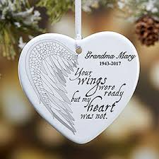 memorial ornaments angel wings personalized memorial heart ornament angel wings