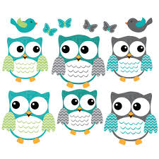 teal owl art for kids with bird wall decal for kids
