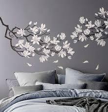 pochoir chambre zeitgenössisch pochoir chambre pochoir magnolia fleur branche grosse