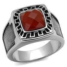 mens stainless steel rings siam men s semi precious siam stainless steel ring