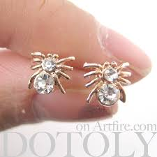 store stud earrings small spider tarantula insect bug animal stud earrings with