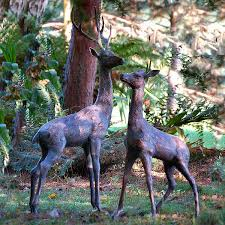 aged bronze finish deer garden statues large uk free