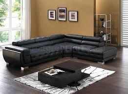 Black Leather Sectional Sofas 8097 Modern Leather Sectional Sofa In Black By American Eagle