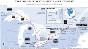 st seaway map hauling grain across the great lakes from thunder bay through the