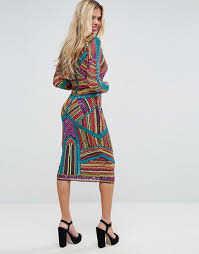 coloured dress asos edition asos carpet geo multi coloured embellished midi