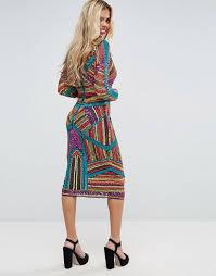 coloured dress asos asos carpet geo multi coloured embellished midi dress