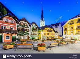 hallstatt austria mountain village in the austrian alps at stock