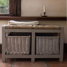 storage unit with wicker baskets furniture grey stained wood hall seat storage unit with two shelf