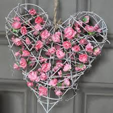 heart wreath pink floral rattan heart wreath melody maison