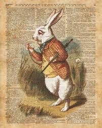 vintage rabbit white rabbit in vintage digital by fundacja