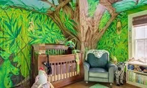décoration jungle chambre bébé rideau chambre bb jungle deco chambre fille gris et