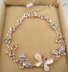 2016 fashion design gold plated butterfly bracelets for
