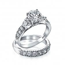 silver wedding bands wedding ring sets for cz sterling silver engagement ring sets