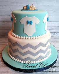 triple layer baby boy baby shower cake with blue ombra buttercream