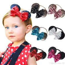 minnie mouse hair bow baby gold sequin bow headband toddler headbands glitter hair