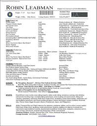 Actor Resume Samples by Special Skills Acting Resume List Free Resume Example And