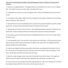 eighth grade pythagorean theorem worksheet 20 u2013 one page worksheets