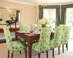 Fabric To Cover Dining Room Chairs Decoration Ideas Fancy Green Fabric Pattern Slip Cover Dining