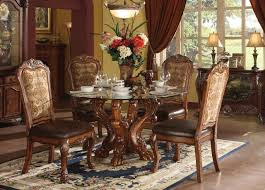 Glass And Oak Dining Table Set Dresden 54 Glass Cherry Oak Dining Table Set Acme 60010