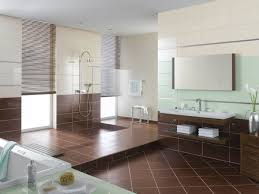 bathroom modern white toilet on dark brown bathroom floor tile